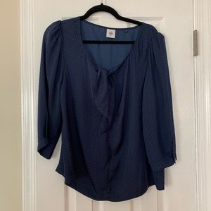 CAbi navy dotted blouse w tie neck, size M